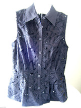 NWT Catherine Malandrino Black Cut Out Embellished Blouse ButtonUp Top 4... - $128.00
