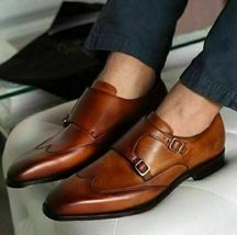 Handmade Men's Brown Leather Wing Tip Double Monk Strap Dress/Formal Shoes image 4