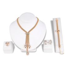 Dubai Gold Design Fringe Style Charm Bracelet Jewelry Wedding Jewelry Sets Rhine - $42.98