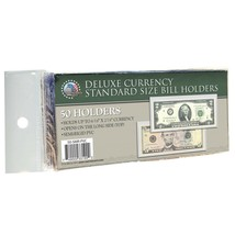 50 CURRENCY DELUXE HOLDERS Semi Rigid Vinyl for Banknotes Money Dollar Bill - $12.18