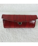 Eel Skin Lipstick case with mirror Red Snap Closure Vintage New Old Stoc... - $12.82
