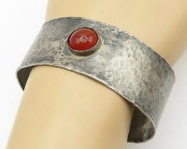 925 Silver - Vintage Cabochon Cut Carnelian Hammered Cuff Bracelet - B5107 - $133.89