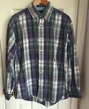 Tommy Hilfiger Blue/Green/White/Grey Plaid L/S Button Down Shirt Men's L - $24.70