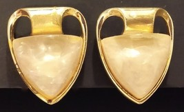 CORO GOLDTONE WHITE SMOOTH STONE CLIP ON EARRINGS - $9.89