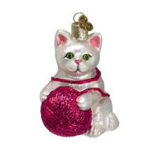 Old World Christmas White Playful Kitten w/ Yarn Ball Glass Xmas Ornament 12170 - $12.88