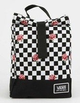 VANS Mow Rose Checkerboard Black & White Roses Lunch Sack Bag Body NEW - $19.80