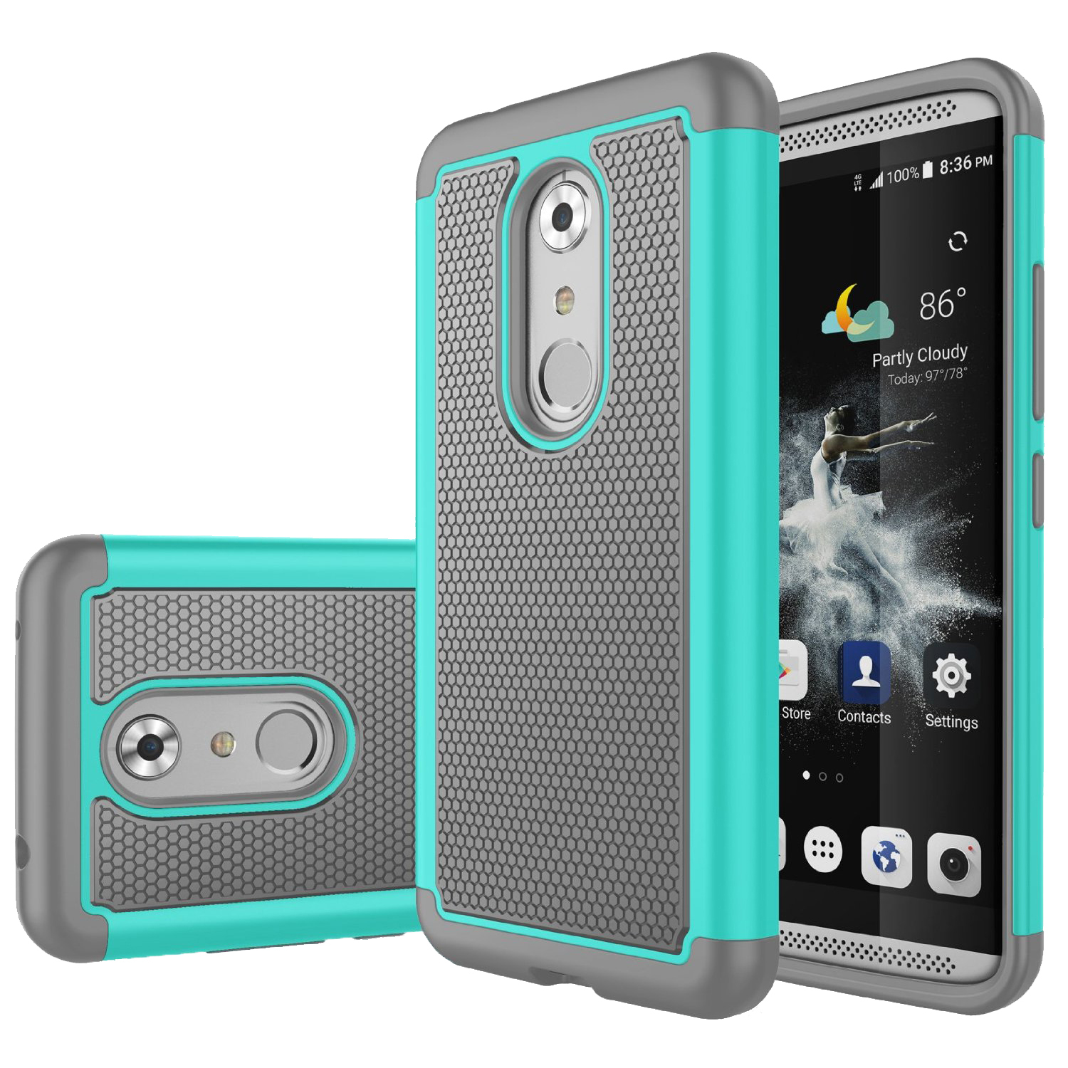 Orbing hybrid armor dual layer protective cover case for zte axon 7 cyan gray p20160821142238905