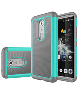 Hybrid Armor Dual Layer Protective Cover Case for ZTE Axon 7 - Cyan&Gray  - $10.98