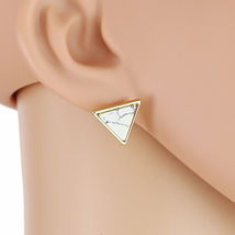 UE- Contemporary Gold Tone Post Earrings with Arctic White Faux Marble Inlay  - $14.99