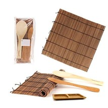 BambooMN Sushi Making Kit 2x Carbonized Bamboo Rolling Mats, 1x Rice Pad... - $8.90