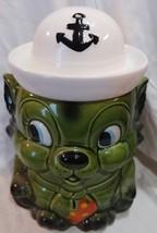 "Vtg Mid Century Cat kitten Sailor Cookie jar green 10"" japan hat - $45.46"