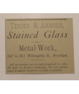 1885 Tidden & Arnold Stained Glass & Metal Work Advertisement New York - $25.00