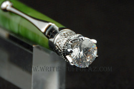 Queen Crown Royal Jewel Designer Pear Green with Crystal - $34.99