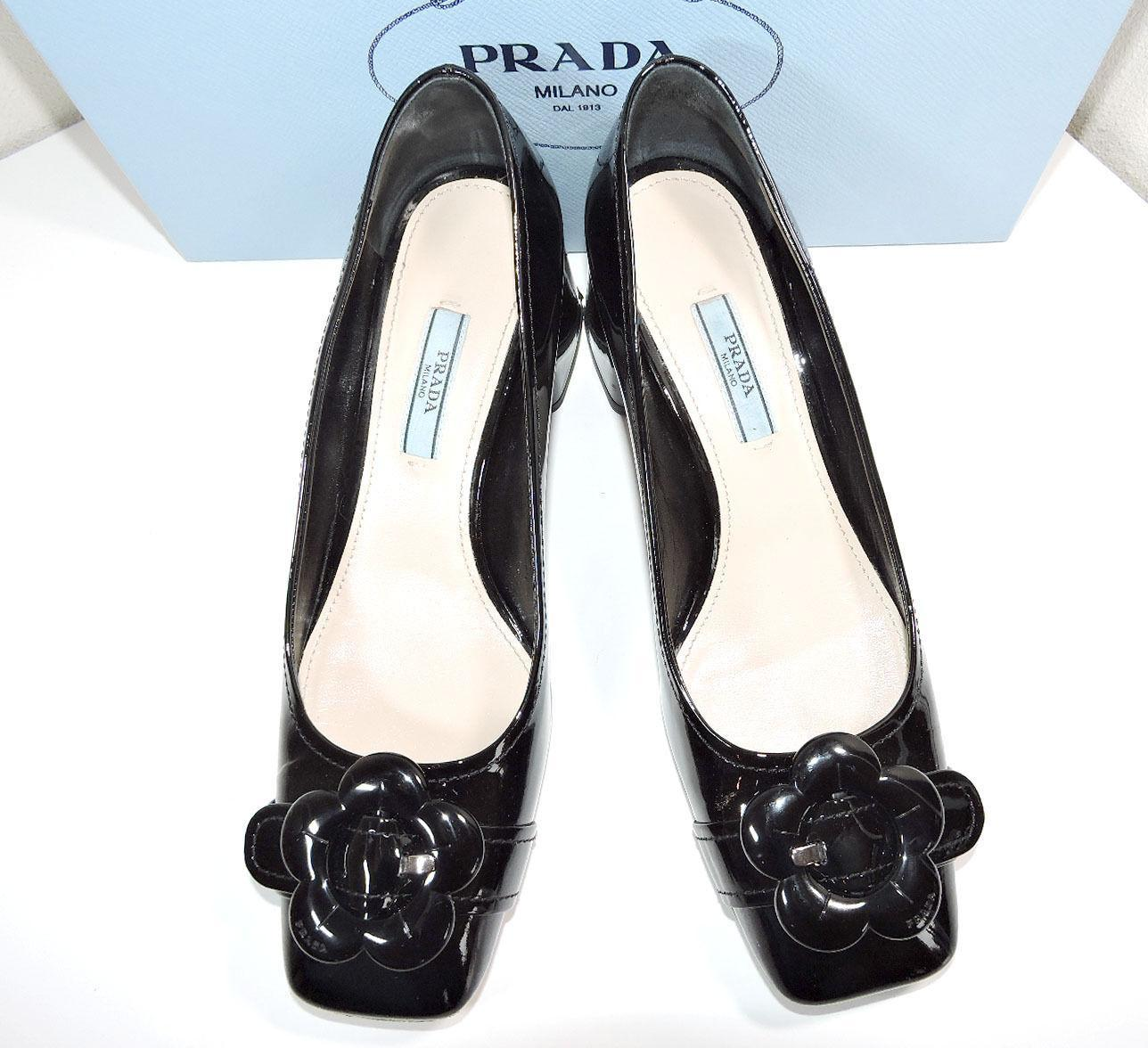 Prada Flower Low Heel Black Leather Pump  Logo Shoe 37.5- 7.5