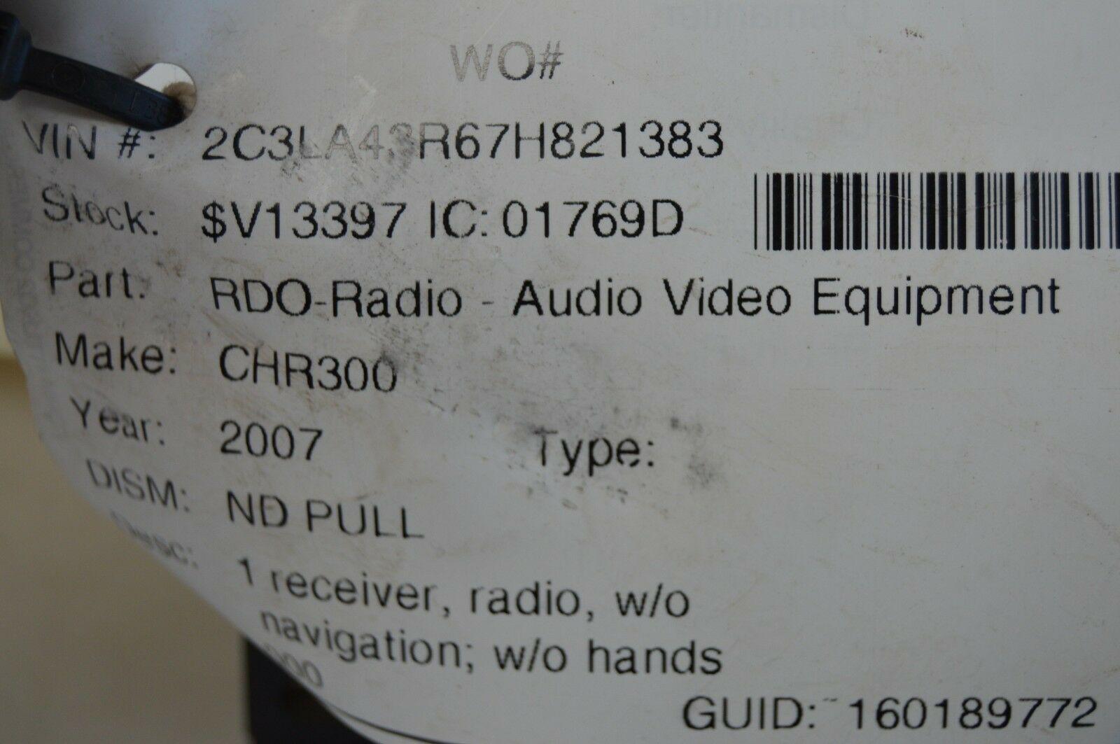 2005-2010 CHRYSLER 300 RADIO CD PLAYER OEM RADIO P05091523AN TESTED F57#019 image 6