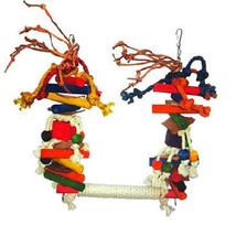 A&E BIRD LARGE ROPE SWING WITH BLOCKS & LEATHER COLORFUL TOY - £26.30 GBP