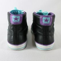 Converse All Star Leather High Top Shoes Mens 9 Womens 11 Black Blue Purple image 6