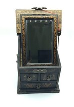 Vintage Wooden Chinese Asian Jewelry Box Chest w/ Mirror Apothecary image 2