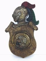 Antique 1900 German black forest carved wood shield medieval knight shop sign image 7