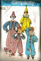 Vintage 1975 Simplicity Pattern 7162 - Boys & Girls CLOWN Costumes - Sz 2-4 - $9.99
