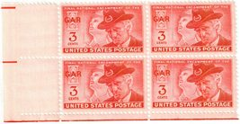 1949 3c Grand Army of Republic Plate Block of 4 US Stamps Catalog Number 985 MNH