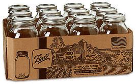 Mason Jars, Regular Mouth, Qt., 12-Pk. - $30.68
