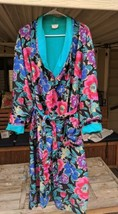 Adonna terry lined bright floral womens L robe with Pocket black pink tu... - $23.38