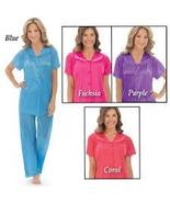 Women's Floral Embroidery Tricot Pajama Set, Blue, Large - $19.90