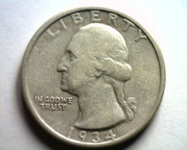1934 WASHINGTON QUARTER EXTRA FINE XF EXTREMELY FINE EF NICE ORIGINAL COIN - $12.00