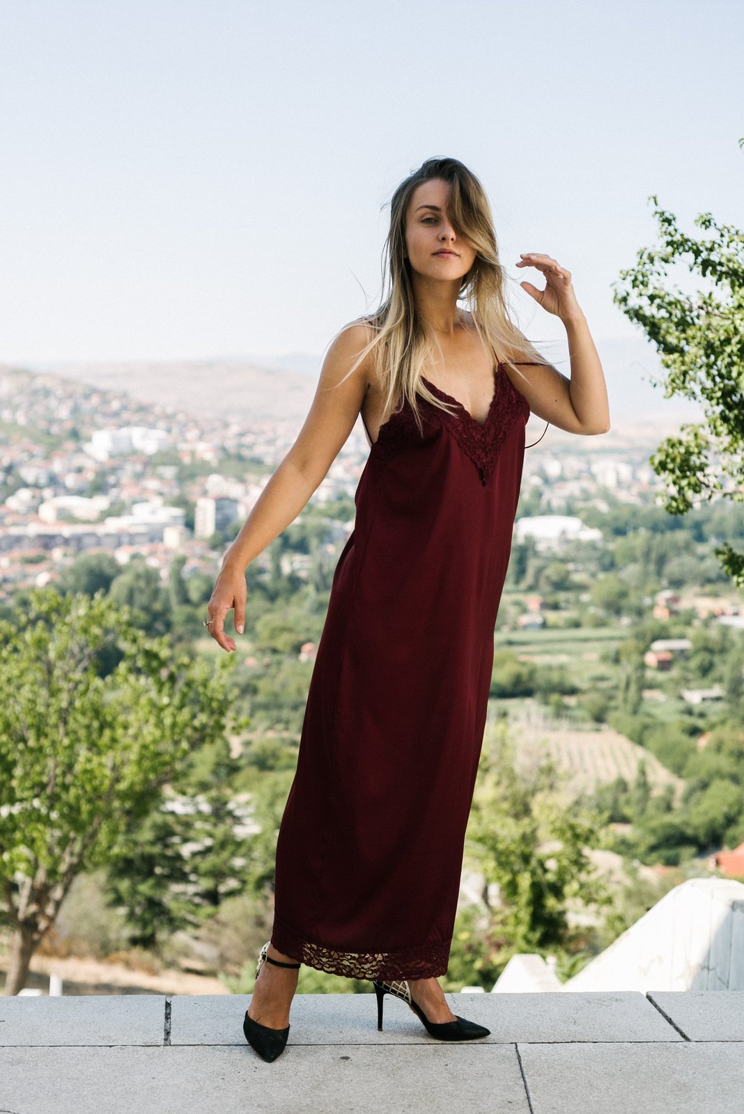 Burgundy Slip On Bareback Dress image 4