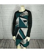 Mossimo | Target Multi Color Abstract Long Sleeve Shift Dress Size M Bla... - $29.67
