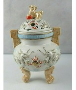 Tall Vintage Ceramic Pottery Chinese Incense Burner Footed Foo Dog & Dragon - $70.00