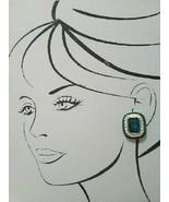 VINTAGE CLIP BUTTON EARRINGS W/ GREEN FAUX EMERALD W/ RHINESTONE ENAMEL ... - $35.00