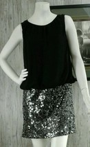 Adrianna Papell Womens Black Sequined Sleeveless Lined Cocktail Dress Si... - $37.25