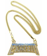 Esskeetit Necklace New Iced Out Pendant With 24 Inch Long Cuban Chain Lil - $20.80