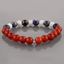 Insomnia Relief - Red Onyx, Sodalite & Howlite Beaded Gemstone Stretch B... - $19.99