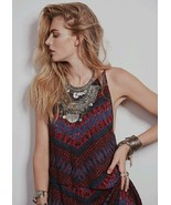 New $128 Free People Blue/Maroon Fleeting Moment V-Back Dress SMALL - $41.58