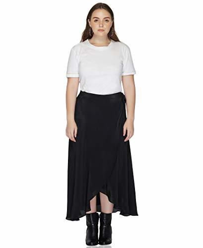Benares Black Womens Wrap Skirt - Viscose Long Wrap Around Skirt - Plus Size,1X