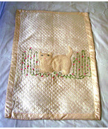 Vintage Baby Silk Blanket Hand Embroidered Applique Cat 50s  - $45.00