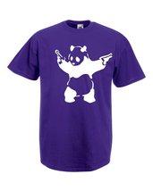 Mens T-Shirt Banksy Street Art Graffiti, Panda with Pistols, Bear Guns Tshirt - $24.74