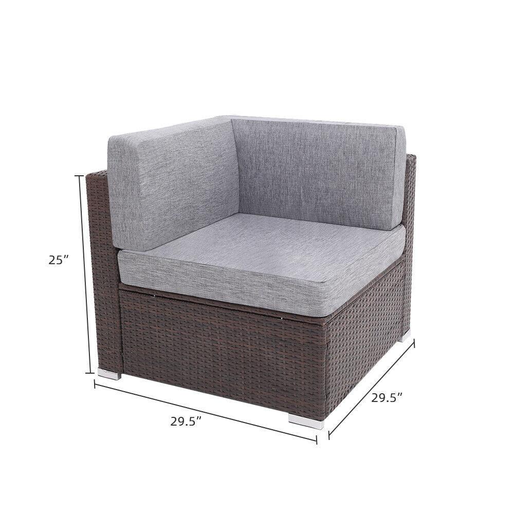 6 Pieces Patio PE Wicker Rattan Corner Sofa Set image 7