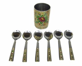 Artistic stainless steel spoons with spoon holder glass serving spoon se... - $23.69