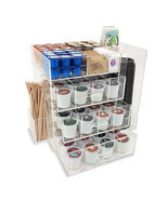 NEW! ACRYLIC COFFEE STATION - KEURIG KCUPS/CREAMER/SUGAR/CUPS/STIRRER OR... - $89.05