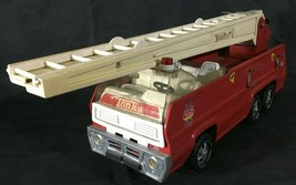 Tonka Toy Fire Truck Aerial Ladder Extends Swivels Metal Vintage Red White - $32.66