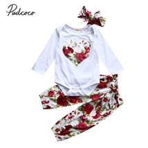 3pcs Newborn Infant Baby Girls Clothes Long Sleeve White Bodysuit Tops+P... - $12.39