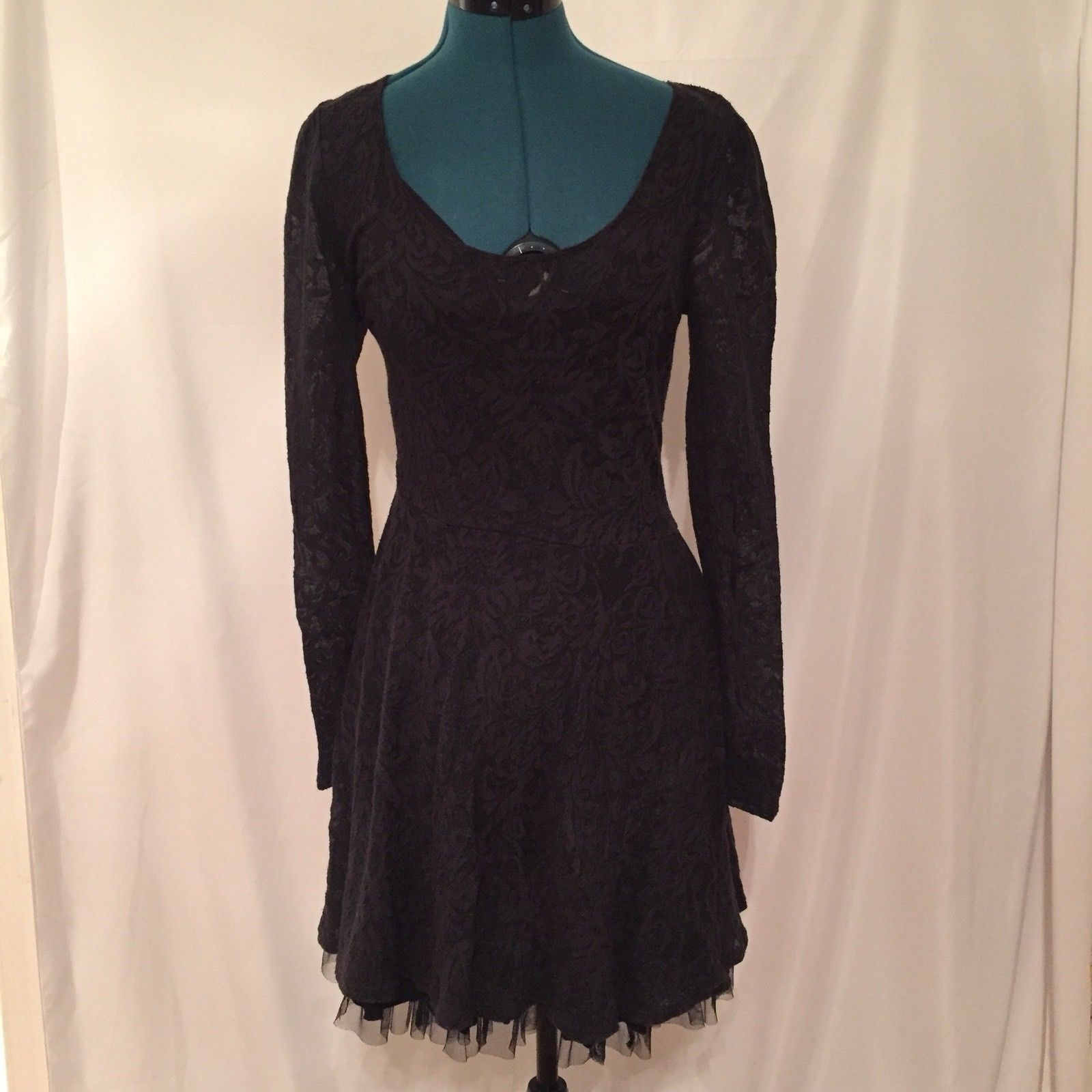 Free People Lace Ruffle Hem Mini Dress Black Sz Medium