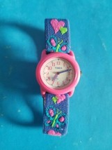 Vintage Kid's Timex Time Machines Butterfly Blue Fabric Strap Watch.NEED... - $14.01