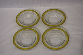 """4 Vintage Crystal Clear Depression Glass 6"""" YELLOW Rim Cereal Bowls w/Go... - $79.99"""