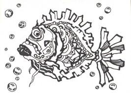 "Akimova: FISH, ink, black&white, animal, 4.75""x 3.5"", sea - $6.00"
