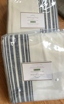Pottery Barn Set 2 Riviera Stripe Drape Navy Blue 96L Curtain Blockout P... - $194.61